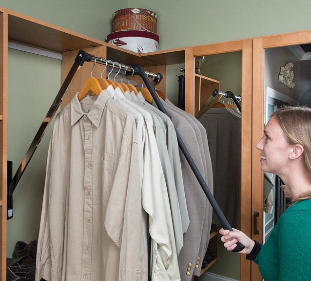 Marco Closets has pull-down rods to increase storage area
