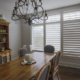 Hidden tilt rods allow shutters to be easily adjusted to control light.
