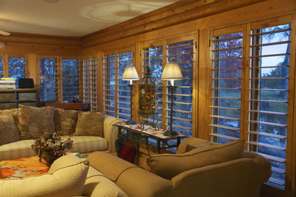 Log Cabin Room With Cozy Shutters from Marco Shutters