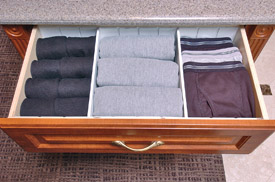 divided closet drawer for the gentleman's closet