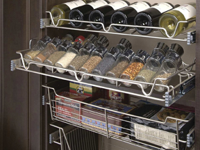 Marco Closets has pantry spice racks for an organized kitchen pantry