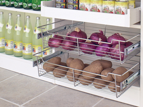 Marco Closets has wire vegetable bins for an organized kitchen pantry