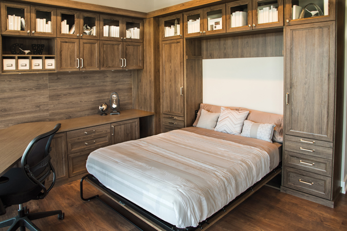 Open Wall Bed in Home Office